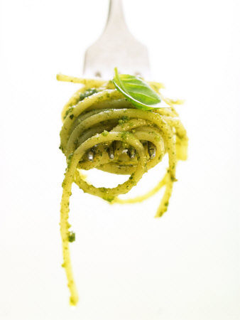 A Forkful of Spaghetti with Pesto Photographic Print by Marc O. Finley