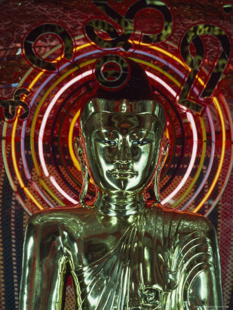 Waist-Up Shot of a Uniquely Designed, Green Metallic Buddha Photographic Print by James L. Stanfield
