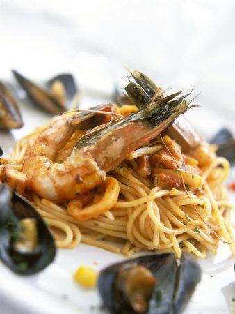 Spaghetti Di Frutti Di Mare (Spaghetti with Seafood) Fotografisk tryk