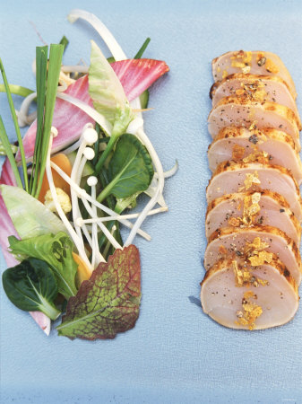 Sliced Swordfish Fillet and Salad Garnish Photographic Print by Joerg Lehmann
