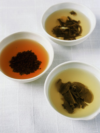 Three Bowls of Different Types of Tea Fotografie-Druck