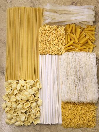 Various Types of Pasta Arranged in a Rectangle Fotografisk tryk af Nikolai Buroh