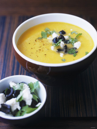 Yellow Pepper Cream Soup with Feta, Olives and Parsley Fotografisk ...