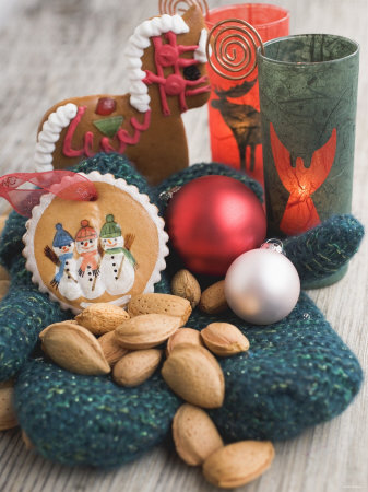 Gingerbread Tree Ornaments, Almonds, Mittens, Baubles & Candle Photographic Print