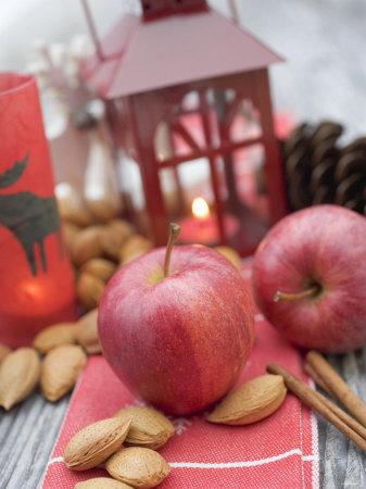Christmas Decoration with Apples, Nuts, Cinnamon & Lantern Photographic Print