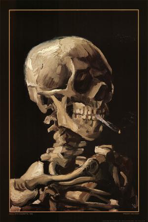 Totenkopf mit Zigarette, 1885 Poster von Vincent van Gogh