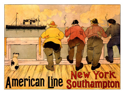 American Line, New York to Southampton Giclee Print by Henri Cassiers