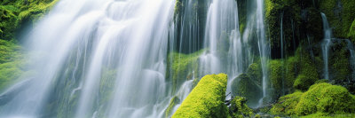 Close-Up of Waterfall on Moss Covered Rocks Photographic Print by  Panoramic Images