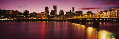 Willamette River at Sunset, Portland, Oregon, USA Photographic Print by  Panoramic Images