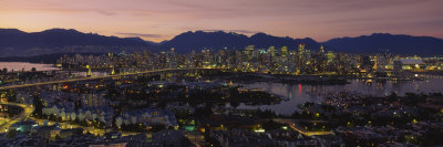 Aerial View of Vancouver Lit Up at Dusk, British Columbia, Canada Photographic Print by  Panoramic Images