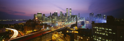 Buildings Lit Up at Night, World Trade Center, Manhattan, New York City, New York, USA Photographic Print by  Panoramic Images
