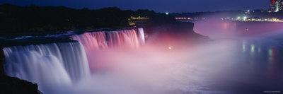 Niagara Falls at Night, New York, USA Photographic Print by  Panoramic Images