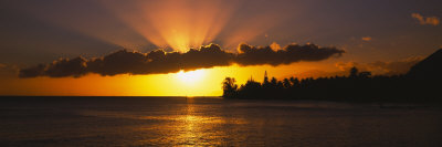 Sunset over the Ocean, Tahiti, French Polynesia Photographic Print by  Panoramic Images