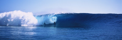 Body Boarder Surfing in the Ocean, Tahiti, French Polynesia Photographic Print