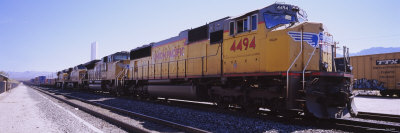 Freight Train on Railroad Tracks, California, USA Photographic Print by  Panoramic Images