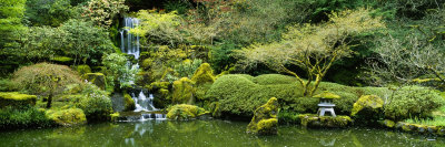 Waterfall in a Garden, Japanese Garden, Washington Park, Portland, Oregon, USA Photographic Print by  Panoramic Images
