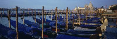 Gondolas Moored at a Harbor, Santa Maria Della Salute, Venice, Italy Photographic Print by  Panoramic Images