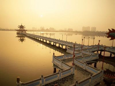 Lotus Lake, Nine Cornered Bridge and Wuli Pagoda, Dawn, Sunrise, Kaohsiung, Taiwan Photographic Print by Steve Vidler