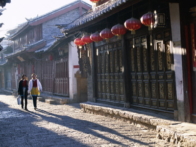 Old Town and Narrow Streets and Old Wooden Buildings, Lijiang, Yunnan Province, China Photographic Print by Steve Vidler