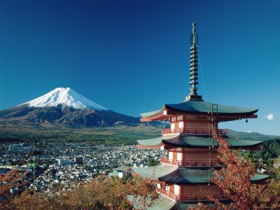 Mount Fuji and Pagoda, Hakone, Honshu, Japan Photographic Print by Steve Vidler