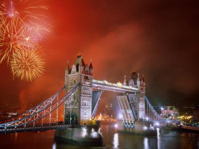 Tower Bridge and Fireworks, London, England Photographic Print by Steve Vidler