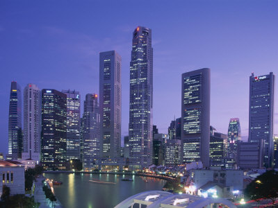 City Skyline, Financial District, Clarke Quay and Singapore River, Singapore Photographic Print by Steve Vidler
