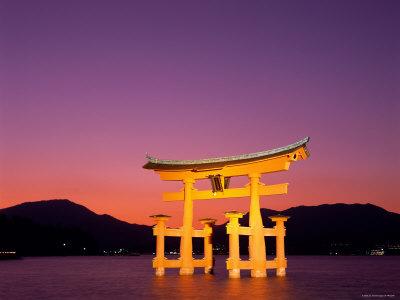Miyajima Island, Itsukushima Shrine, Torii Gate, Night View, Honshu, Japan Photographic Print by Steve Vidler
