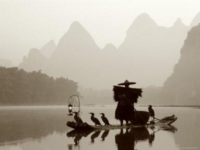Cormorant Fishermen, Li River, Yangshou, Guilin, Guangxi Province, China Photographic Print by Steve Vidler