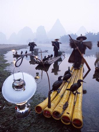 Cormorant Fisherman on Bamboo Rafts, Li River, Yangshou, Guangxi Province, China Photographic Print by Steve Vidler