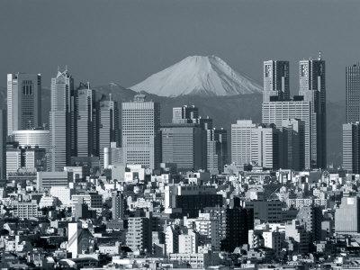 City Skyline and Mount Fuji, Tokyo, Honshu, Japan Photographic Print by Steve Vidler