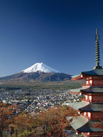 Mount Fuji and Pagoda, Honshu, Japan Photographic Print by Steve Vidler