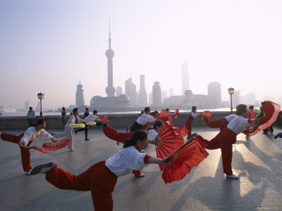 People Exercising at The Bund, Pudong Skyline in Background, Shanghai, China Photographic Print by Steve Vidler