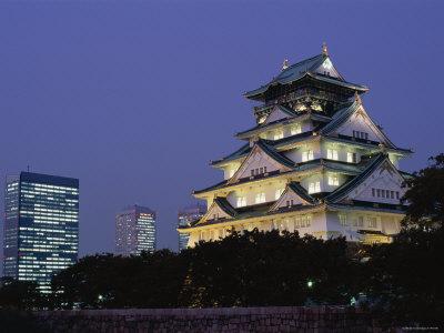 Osaka Castle and City Skyline, Night View, Osaka, Honshu, Japan Photographic Print by Steve Vidler