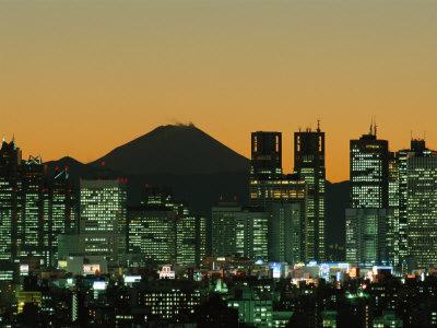 City Skyline and Mount Fuji, Night View, Tokyo, Honshu, Japan Photographic Print by Steve Vidler