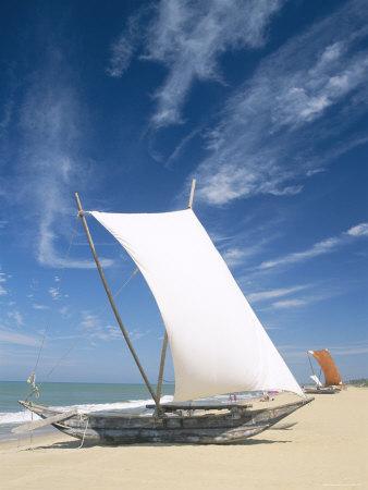 Negombo Beach, Traditional Outrigger Fishing Boats, Negombo, Sri Lanka Photographic Print by Steve Vidler