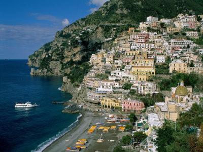 Amalfi Coast, Coastal View and Village, Positano, Campania, Italy Photographic Print by Steve Vidler