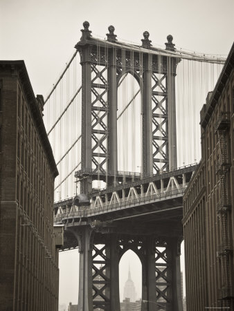 Manhattan Bridge and Empire State Building, New York City, USA Photographic Print