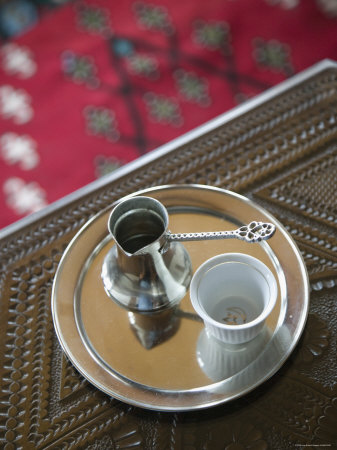 Traditional Coffee Service, Turkish House, Mostar, Bosnia and Herzegovina Photographic Print by Walter Bibikow
