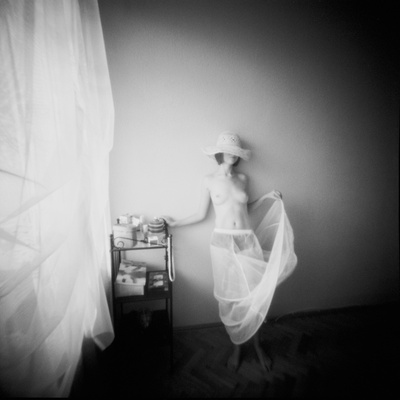 Pinhole Camera Shot of Standing Topless Woman in Hoop Skirt Lmina fotogrfica