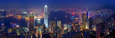 Victoria Harbour and Skyline from the Peak, Hong Kong, China Photographic Print by Michele Falzone
