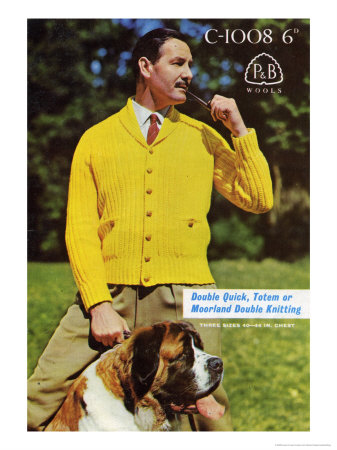 Man in Yellow Cardigan with Dog Art Print