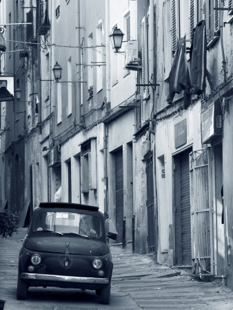 Fiat Driving in Narrow Street, Sassari, Sardinia, Italy Photographic Print