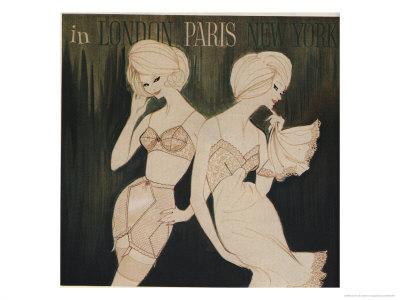 Lingerie in London, Paris, New York Illustration Giclée-tryk