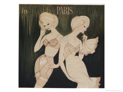 Lingerie in London, Paris, New York Illustration Kunsttryk