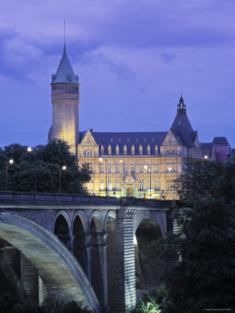 Pont Adolpe, State Savings Bank, Luxembourg Photographic Print by Rex Butcher