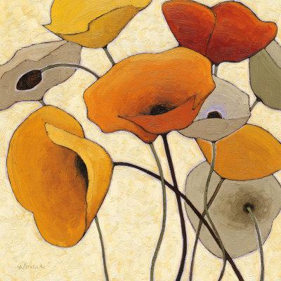 Pumpkin Poppies III Print by Shirley Novak