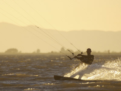 Kite Boarding in the Sacramento River, Sherman Island, Rio Vista, California Photographic Print by Josh Anon