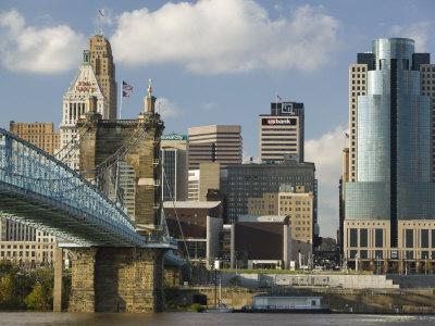 City Skyline along the Ohio River, Cincinnati, Ohio Photographic Print by Walter Bibikow