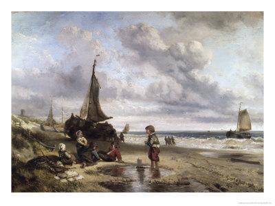Children Playing by the Ocean Giclee Print by Jan Mari Henri Ten Kate