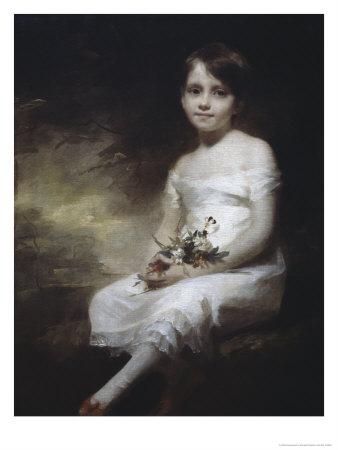 Young Girl with Flowers Giclee Print by H. Macbeth Raeburn
